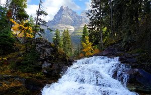 Waterfall in Glacier National Park - Moment of Perception Photography