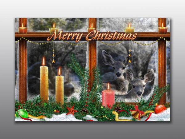 Two fawns peek through a Christmas window - Moment of Perception Photography
