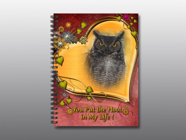 Great Horned Owl Valentine Notebook- Moment of Perception Photography