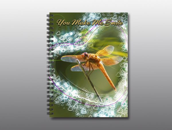 Smiling Dragonfly Valentine Notebook - Moment of Perception Photography