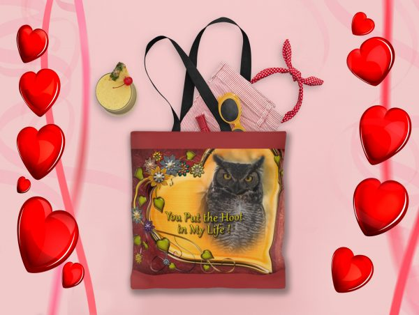 Great Horned Owl Valentine Tote- Moment of Perception Photography